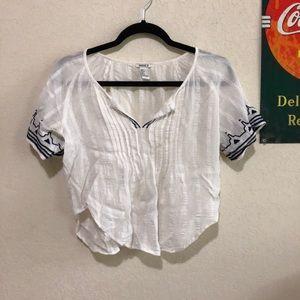 Boho White Cropped Shirt